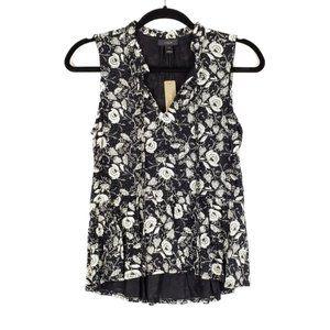 J. CREW Black Floral Ruffle Trim Tie Front Top XXS